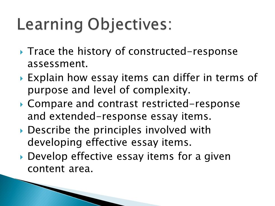 essay items assessment