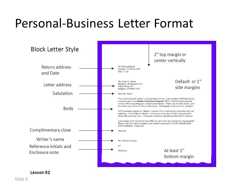 Slide 1 memo format lesson 90 default or 1 side margins heading 3 slide 3 personal business letter spiritdancerdesigns Image collections