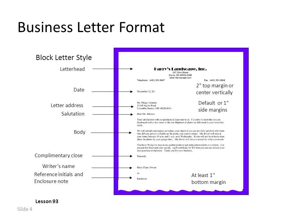 Slide 1 memo format lesson 90 default or 1 side margins heading 4 slide 4 business letter format lesson 93 salutation letterhead letter address spiritdancerdesigns Image collections