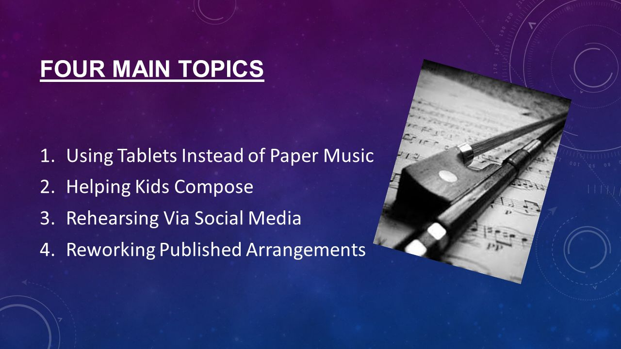 3 main topics about music??