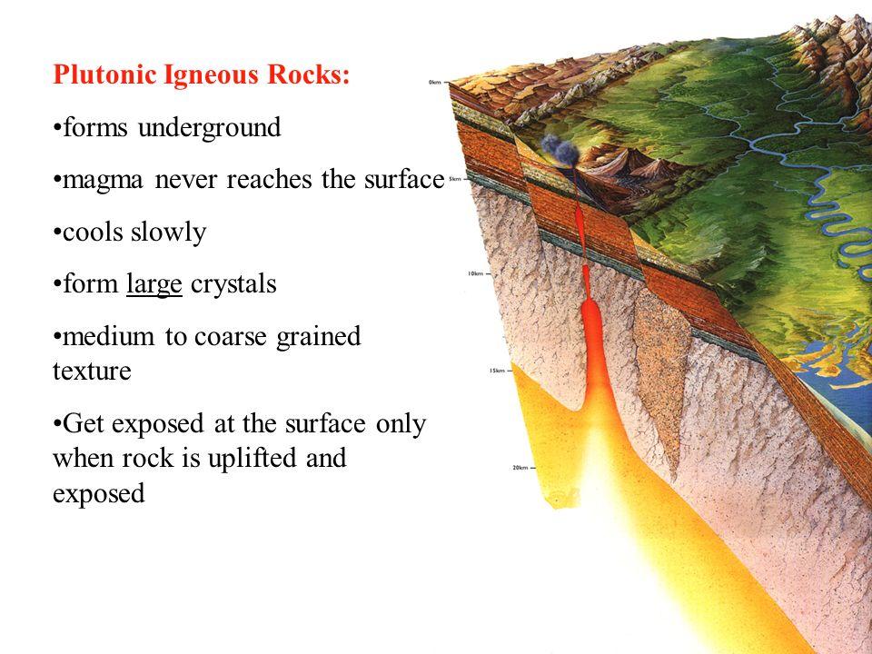 Rocks A. Igneous Rocks. Plutonic Igneous Rocks: forms underground ...
