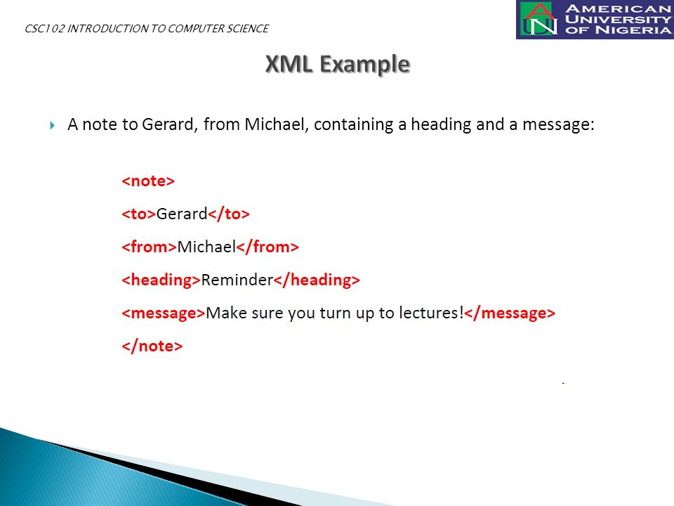  A note to Gerard, from Michael, containing a heading and a message: CSC102 INTRODUCTION TO COMPUTER SCIENCE