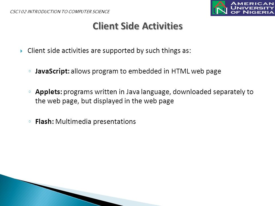  Client side activities are supported by such things as: ◦ JavaScript: allows program to embedded in HTML web page ◦ Applets: programs written in Java language, downloaded separately to the web page, but displayed in the web page ◦ Flash: Multimedia presentations CSC102 INTRODUCTION TO COMPUTER SCIENCE