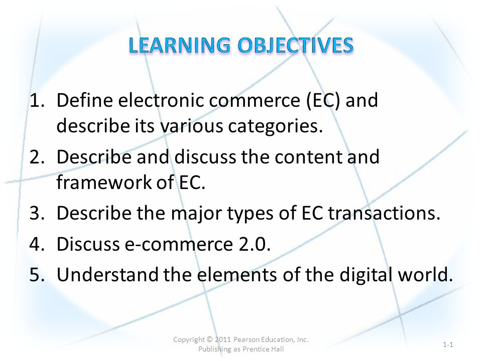 1.Define electronic commerce (EC) and describe its various categories.