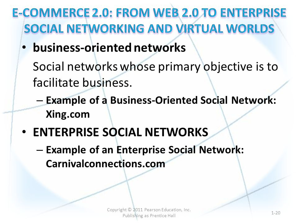 business-oriented networks Social networks whose primary objective is to facilitate business.