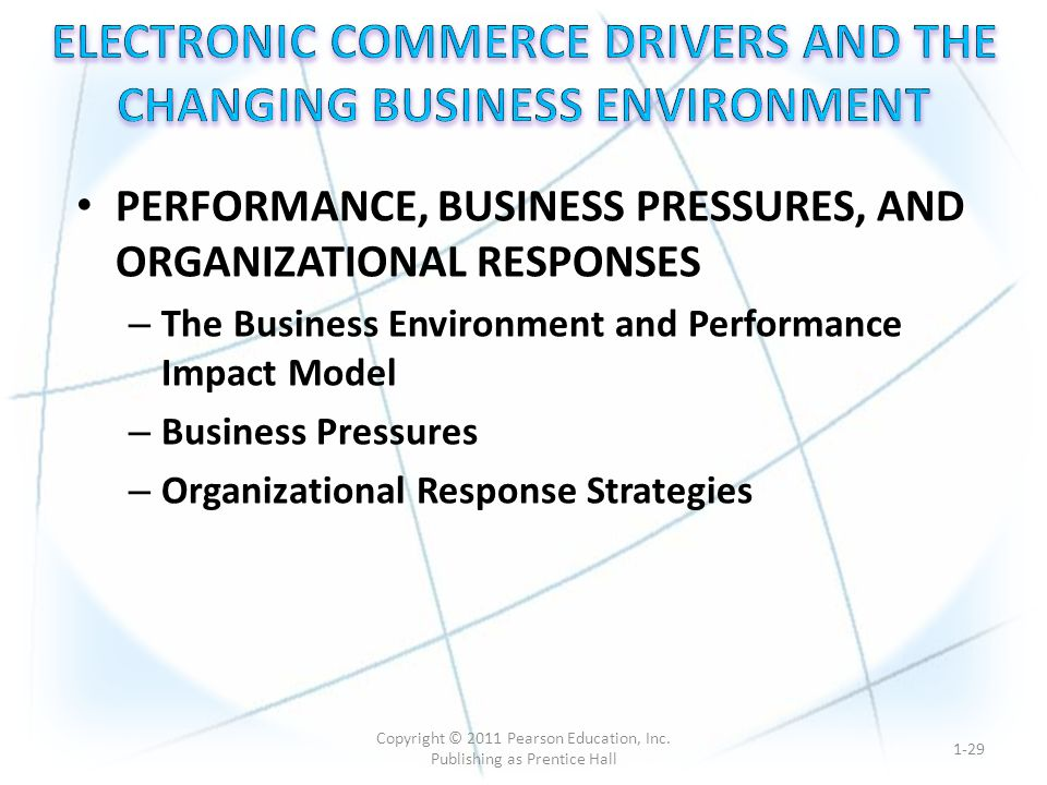 PERFORMANCE, BUSINESS PRESSURES, AND ORGANIZATIONAL RESPONSES – The Business Environment and Performance Impact Model – Business Pressures – Organizational Response Strategies 1-29 Copyright © 2011 Pearson Education, Inc.