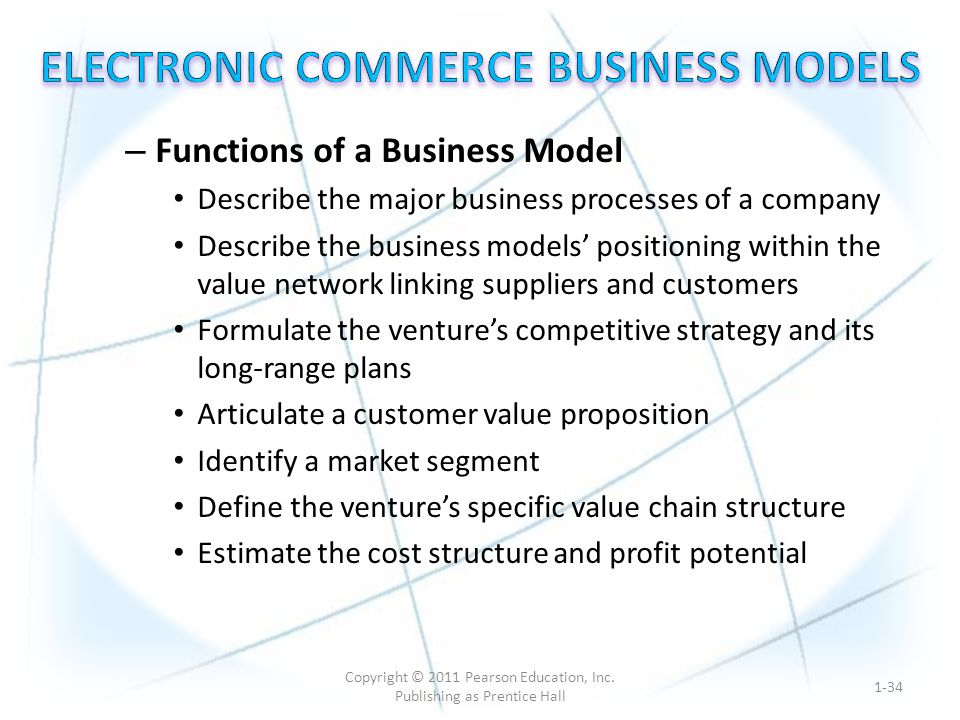 – Functions of a Business Model Describe the major business processes of a company Describe the business models' positioning within the value network linking suppliers and customers Formulate the venture's competitive strategy and its long-range plans Articulate a customer value proposition Identify a market segment Define the venture's specific value chain structure Estimate the cost structure and profit potential 1-34 Copyright © 2011 Pearson Education, Inc.