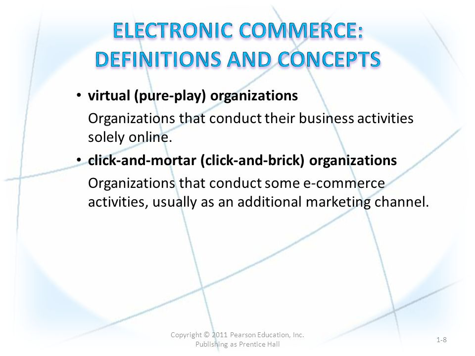 virtual (pure-play) organizations Organizations that conduct their business activities solely online.