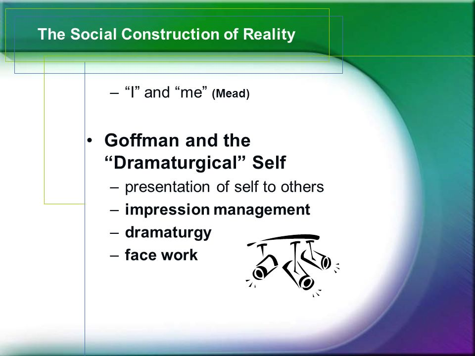 – I and me (Mead) Goffman and the Dramaturgical Self –presentation of self to others –impression management –dramaturgy –face work