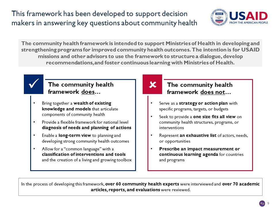 9 This framework has been developed to support decision makers in answering key questions about community health  The community health framework is intended to support Ministries of Health in developing and strengthening programs for improved community health outcomes.