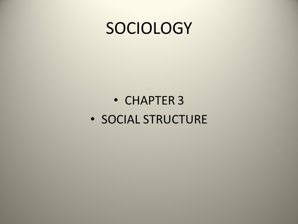 SOCIOLOGY CHAPTER 3 SOCIAL STRUCTURE
