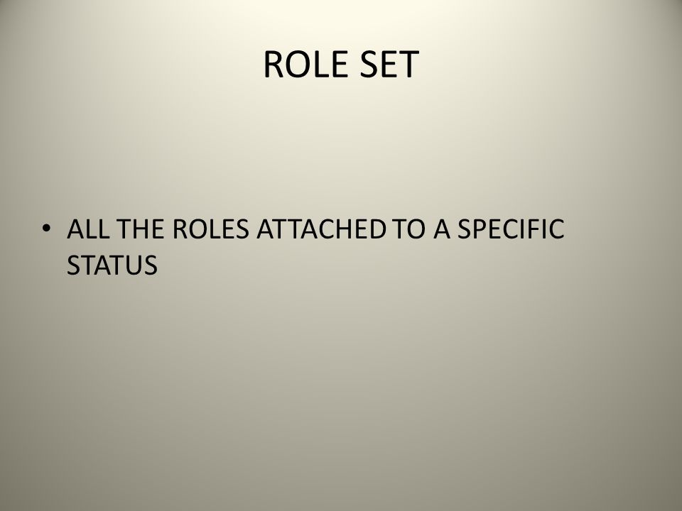ROLE SET ALL THE ROLES ATTACHED TO A SPECIFIC STATUS