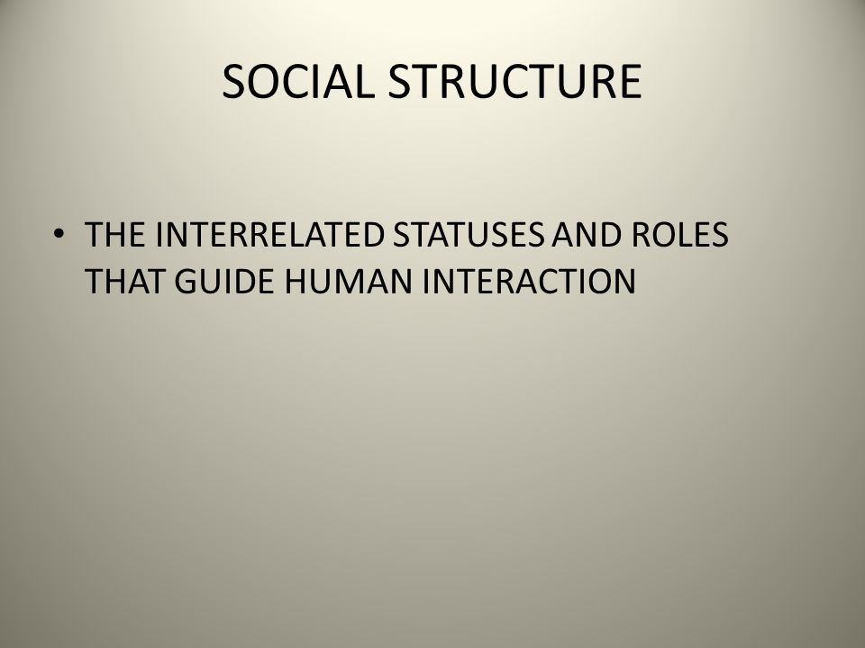 SOCIAL STRUCTURE THE INTERRELATED STATUSES AND ROLES THAT GUIDE HUMAN INTERACTION