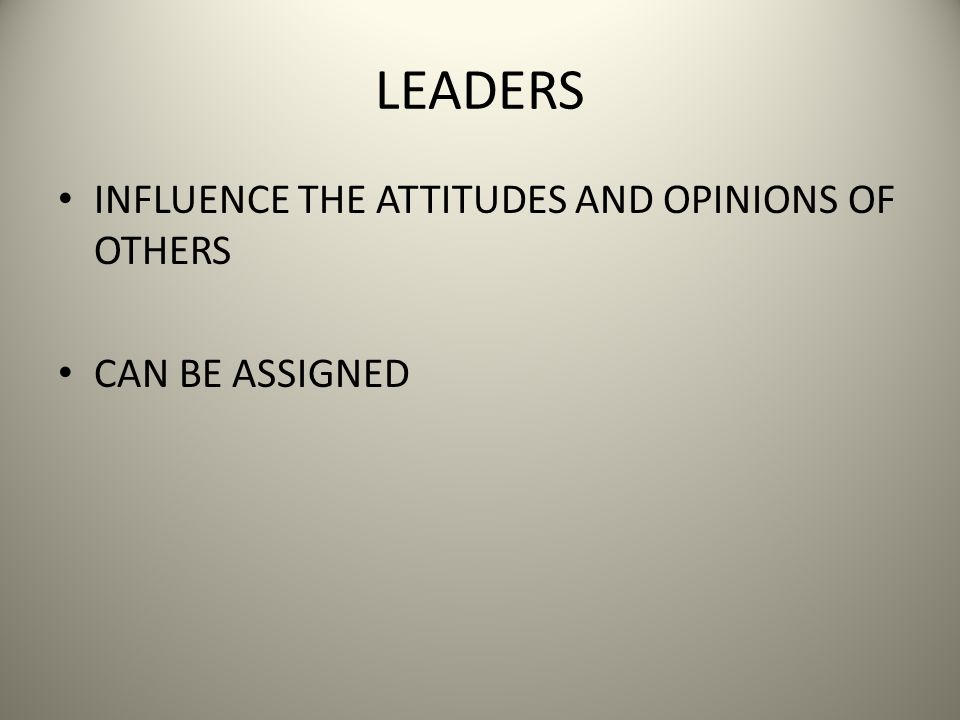 LEADERS INFLUENCE THE ATTITUDES AND OPINIONS OF OTHERS CAN BE ASSIGNED