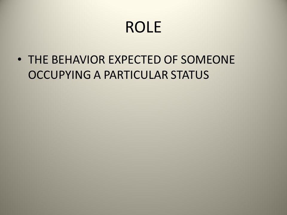ROLE THE BEHAVIOR EXPECTED OF SOMEONE OCCUPYING A PARTICULAR STATUS