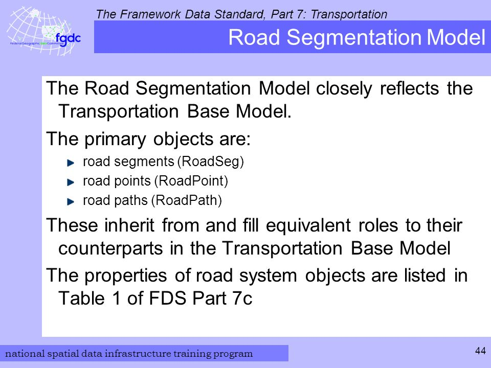 national spatial data infrastructure training program The Framework Data Standard, Part 7: Transportation 44 Road Segmentation Model The Road Segmentation Model closely reflects the Transportation Base Model.