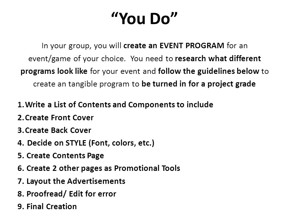 how to create an event program