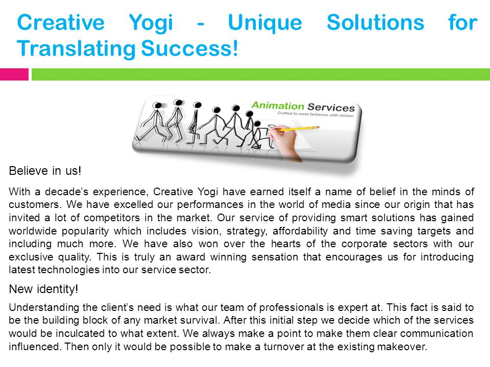Creative Yogi - Unique Solutions for Translating Success.