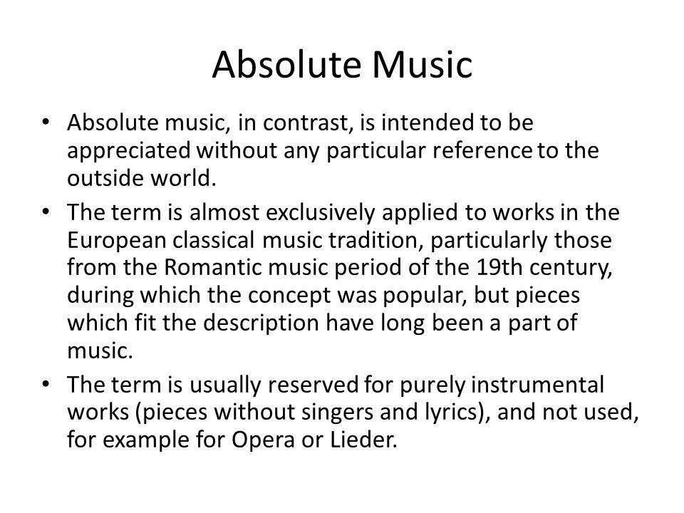 Lyric lyrics opera : Program Music. Program music is a type of art music that attempts ...