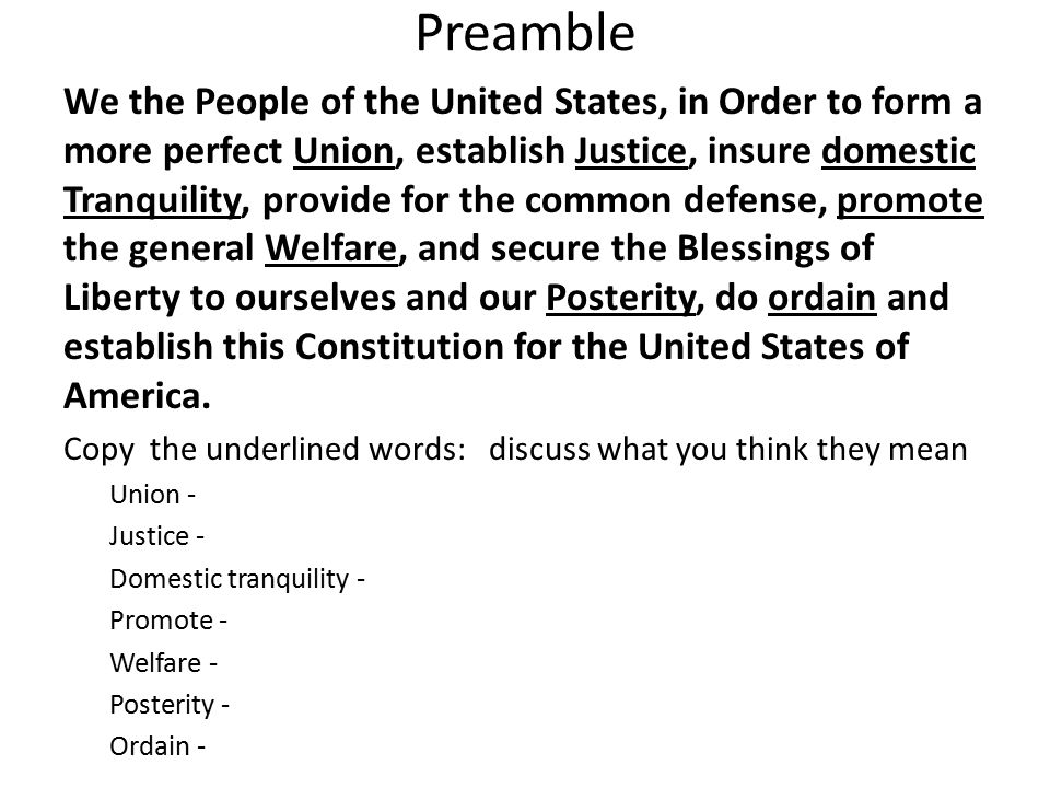 Preamble We the People of the United States, in Order to form a ...