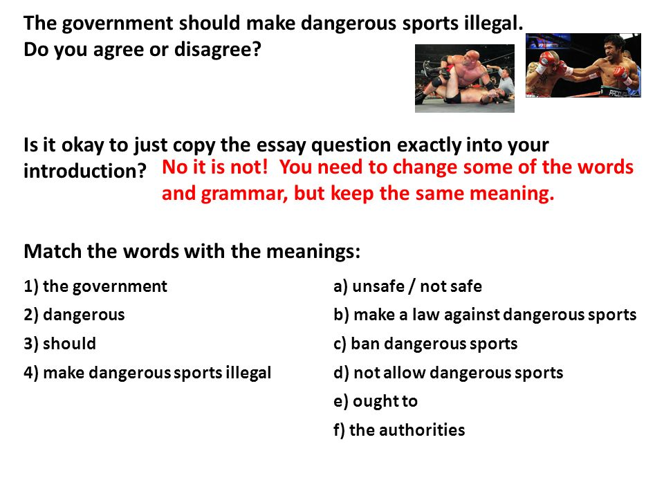 dangerous sports should be banned essay This essay will discuss about extreme sports are dangerous for one's life and should be banned firstly, extreme sports, all physical activities can help to improve health people gain confidence and get feeling of well being after doing extreme sports.
