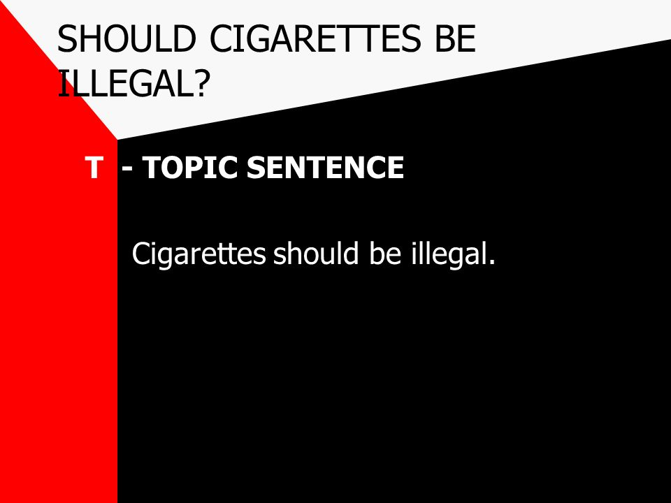cigarettes should be made illegal Will cigarettes be made illegal in the near future the battle over cigarettes is heating up by that same flawed logic cigarettes should be illegal too.