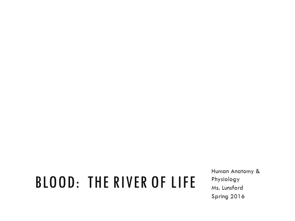 BLOOD: THE RIVER OF LIFE Human Anatomy & Physiology Ms. Lunsford ...