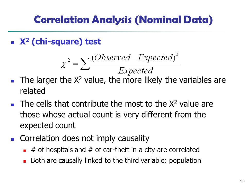 15 Correlation Analysis (Nominal Data) Χ 2 (chi-square) test The larger the Χ 2 value, the more likely the variables are related The cells that contribute the most to the Χ 2 value are those whose actual count is very different from the expected count Correlation does not imply causality # of hospitals and # of car-theft in a city are correlated Both are causally linked to the third variable: population