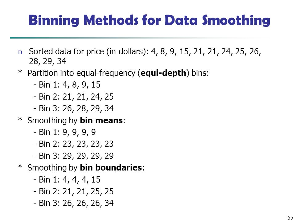 55 Binning Methods for Data Smoothing  Sorted data for price (in dollars): 4, 8, 9, 15, 21, 21, 24, 25, 26, 28, 29, 34 * Partition into equal-frequency (equi-depth) bins: - Bin 1: 4, 8, 9, 15 - Bin 2: 21, 21, 24, 25 - Bin 3: 26, 28, 29, 34 * Smoothing by bin means: - Bin 1: 9, 9, 9, 9 - Bin 2: 23, 23, 23, 23 - Bin 3: 29, 29, 29, 29 * Smoothing by bin boundaries: - Bin 1: 4, 4, 4, 15 - Bin 2: 21, 21, 25, 25 - Bin 3: 26, 26, 26, 34