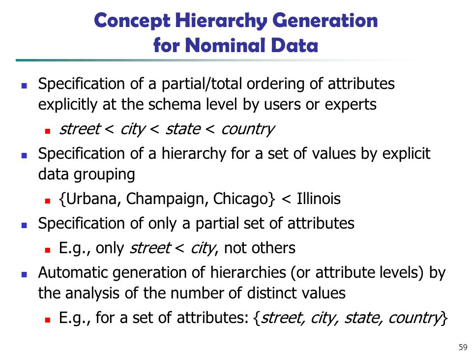 59 Concept Hierarchy Generation for Nominal Data Specification of a partial/total ordering of attributes explicitly at the schema level by users or experts street < city < state < country Specification of a hierarchy for a set of values by explicit data grouping {Urbana, Champaign, Chicago} < Illinois Specification of only a partial set of attributes E.g., only street < city, not others Automatic generation of hierarchies (or attribute levels) by the analysis of the number of distinct values E.g., for a set of attributes: {street, city, state, country}