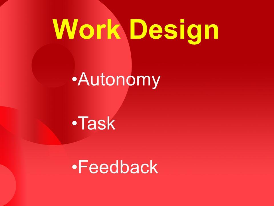 Work Design Autonomy Task Feedback