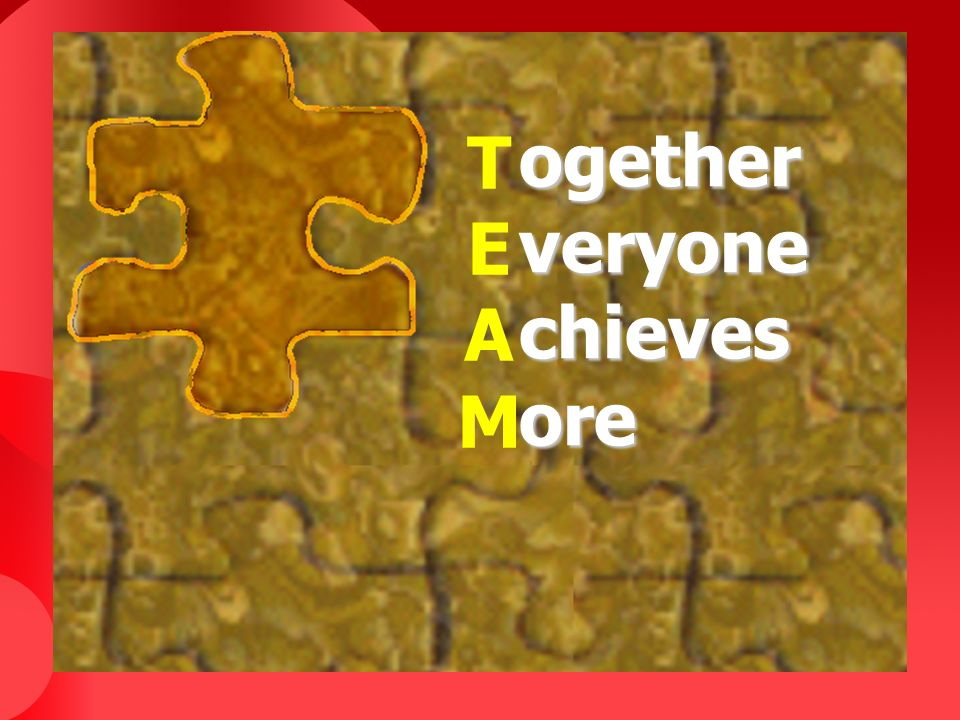 T E A M ogether veryone chieves ore