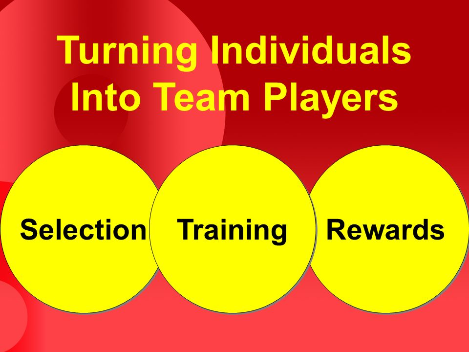 Turning Individuals Into Team Players Selection Rewards Training