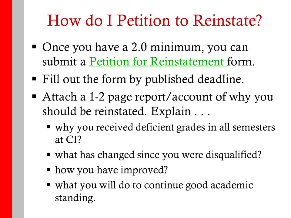 How To Get Reinstated Academic Advising Center Outline