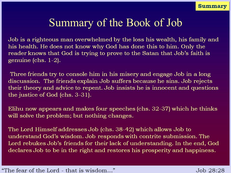 the book of job why the