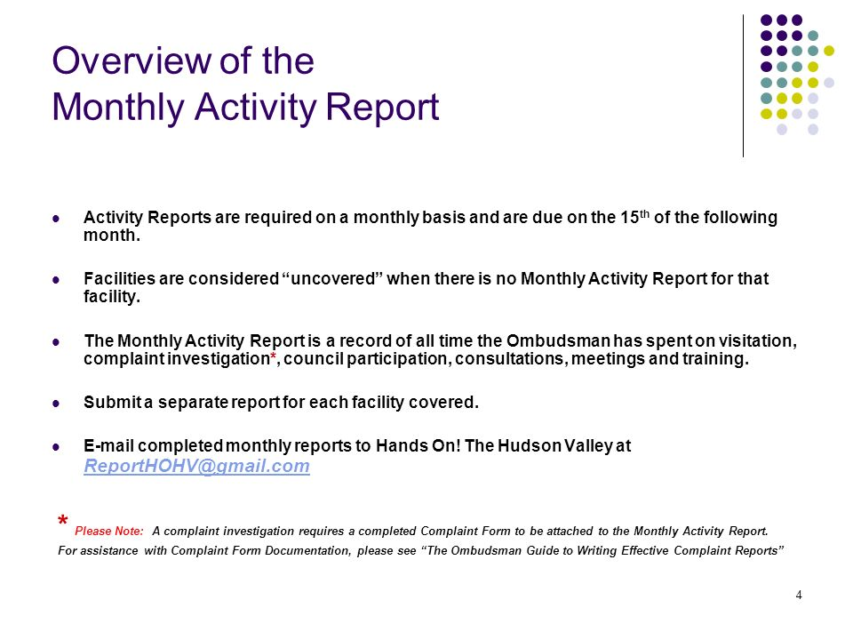 1 The Ombudsman Guide to Writing Effective Monthly Activity ...