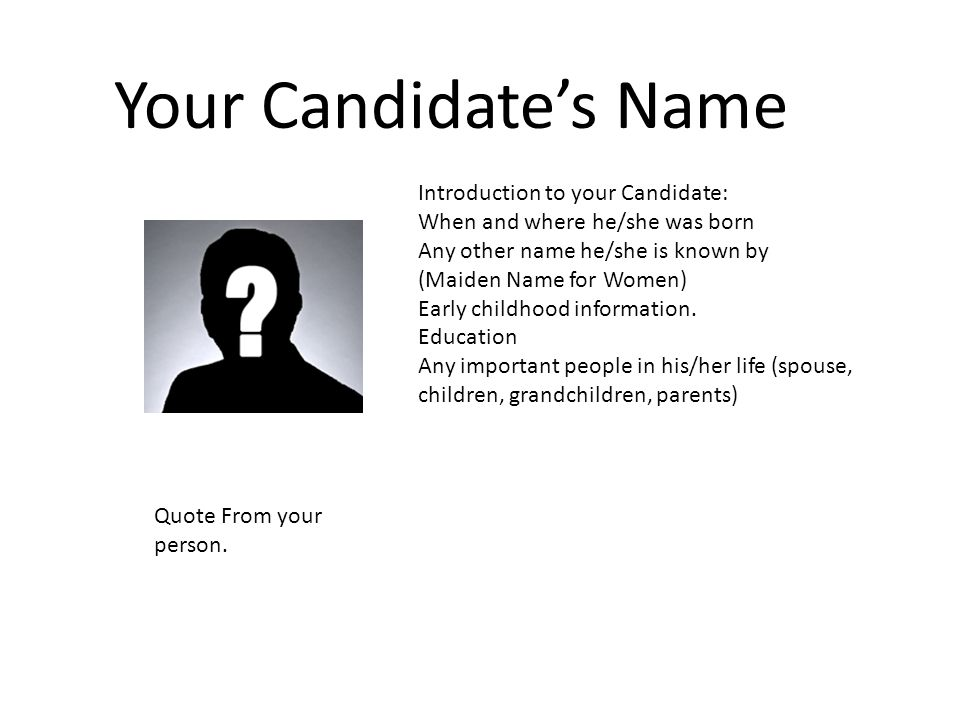 candidate s