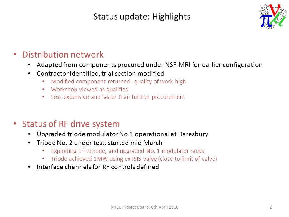 ... under NSF-MRI for earlier configuration Contractor identified, trial  section modified Modified component returned- quality of work high Workshop  viewed ...