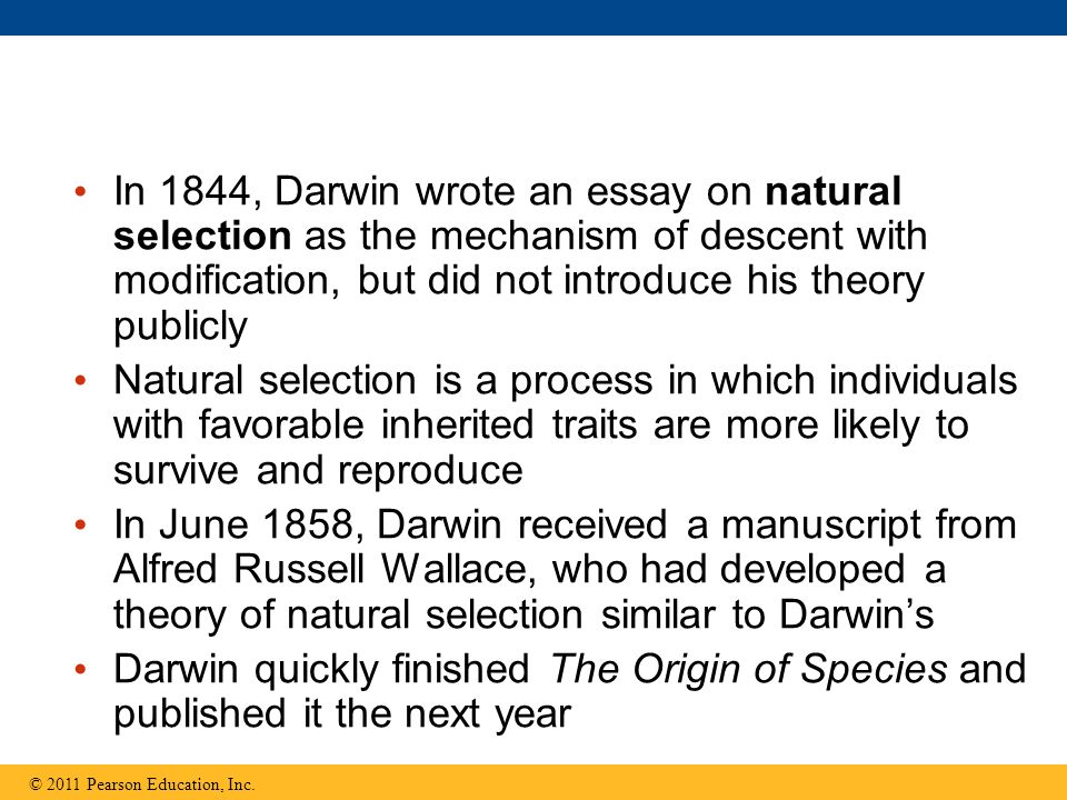 lecture presentations for campbell biology ninth edition jane b  22 in 1844 darwin wrote an essay on natural selection