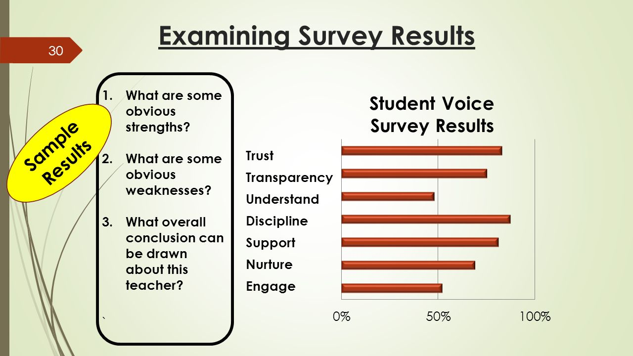 Examining Survey Results 1.What are some obvious strengths.