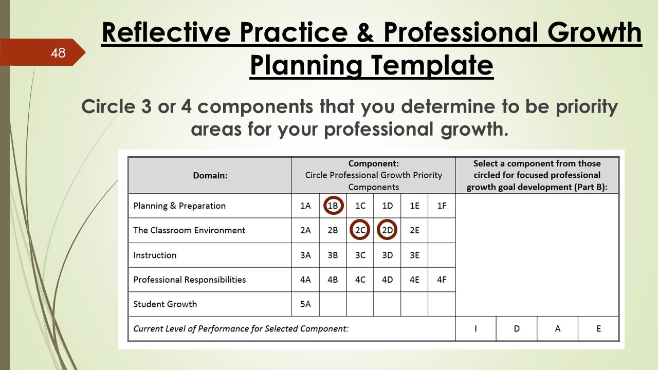 Reflective Practice & Professional Growth Planning Template Circle 3 or 4 components that you determine to be priority areas for your professional growth.