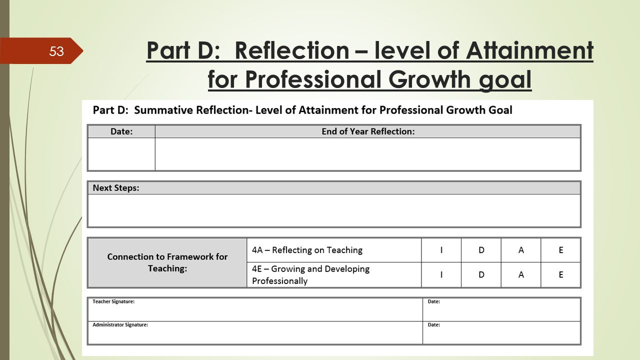 Part D: Reflection – level of Attainment for Professional Growth goal 53