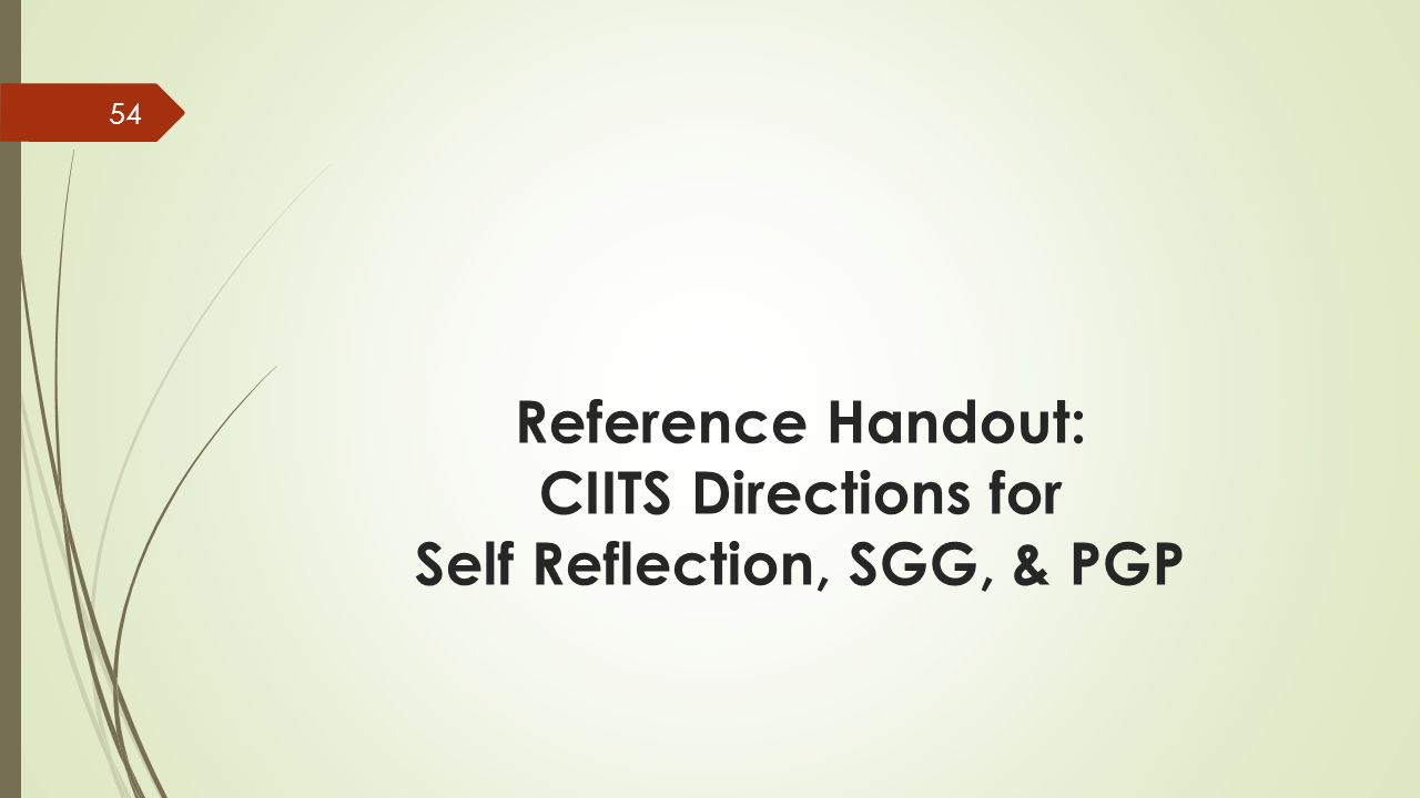 Reference Handout: CIITS Directions for Self Reflection, SGG, & PGP 54