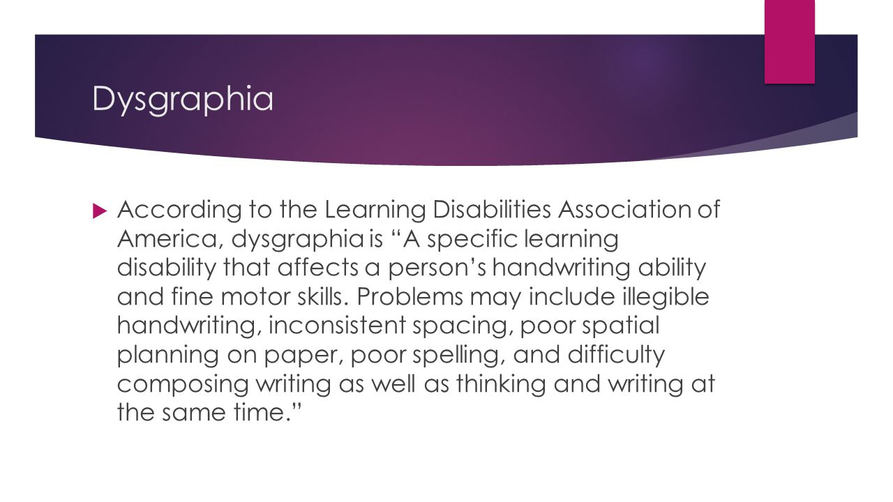Learning disability in written expression