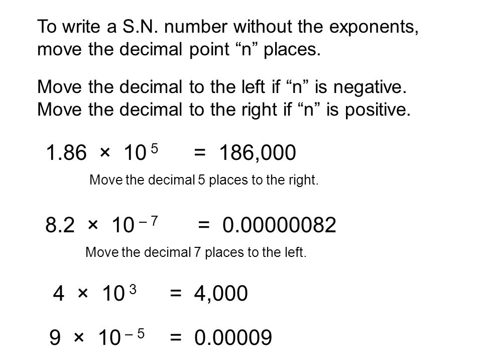 To write a S.N. number without the exponents, move the decimal point n places.