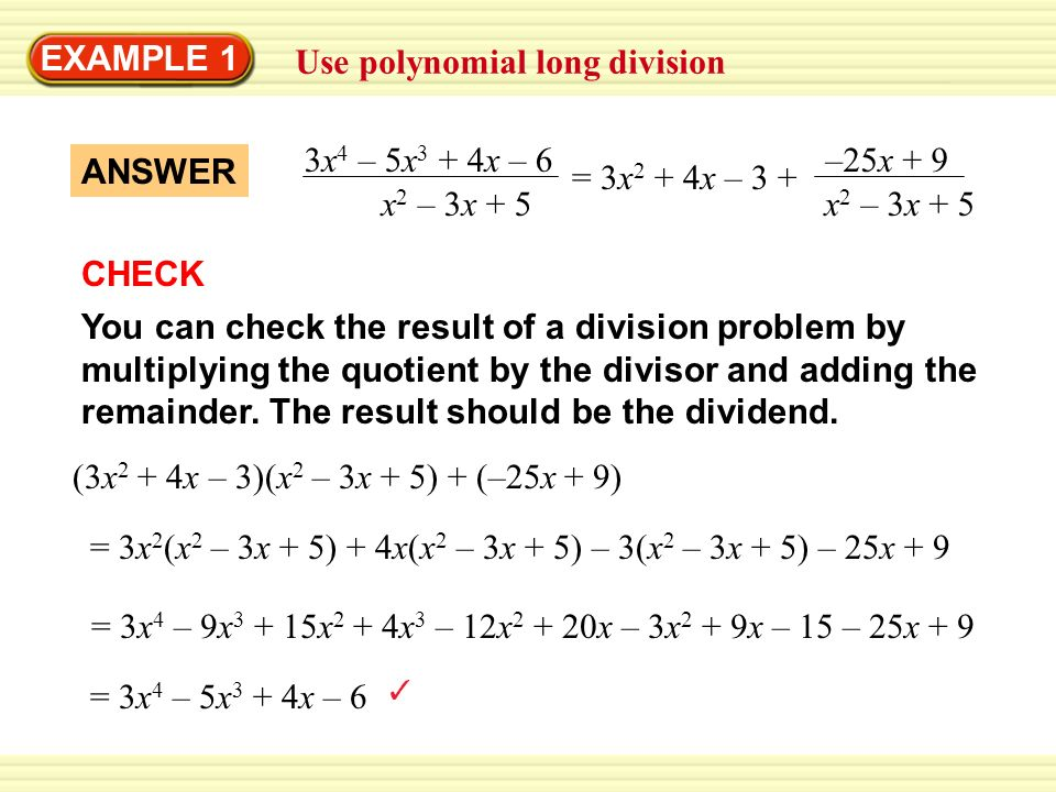 Chapter 5 Section 5. EXAMPLE 1 Use polynomial long division Divide ...