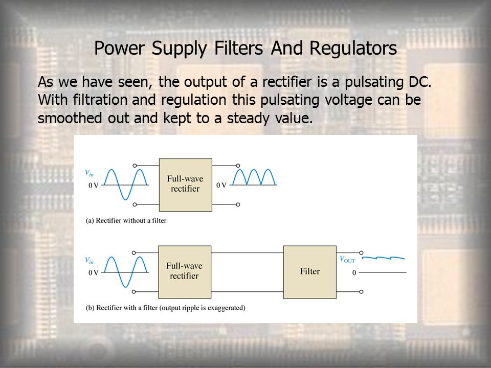 Power Supply Filters And Regulators As we have seen, the output of a rectifier is a pulsating DC.