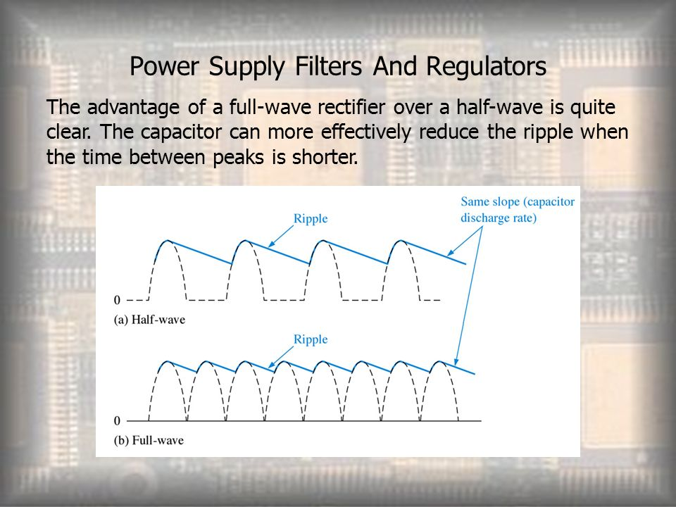 Power Supply Filters And Regulators The advantage of a full-wave rectifier over a half-wave is quite clear.