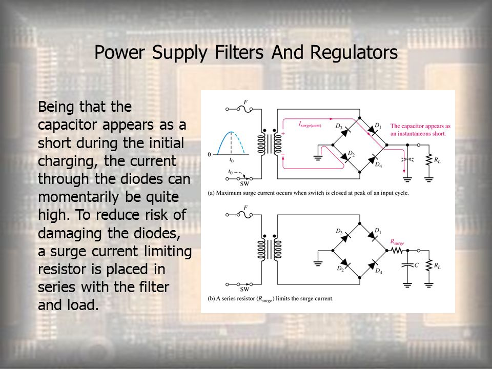 Power Supply Filters And Regulators Being that the capacitor appears as a short during the initial charging, the current through the diodes can momentarily be quite high.