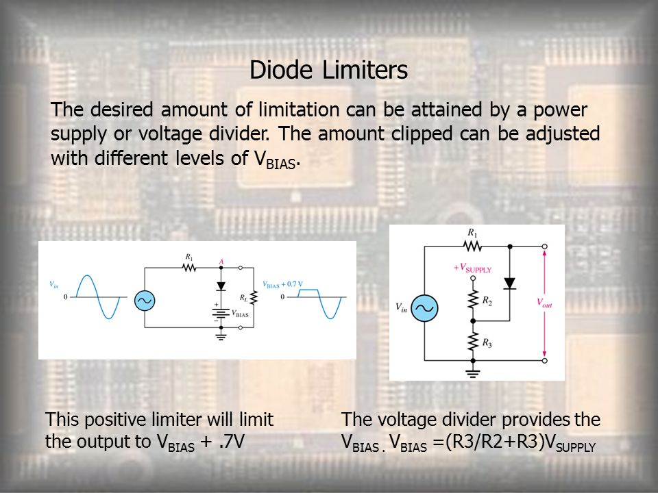 Diode Limiters The desired amount of limitation can be attained by a power supply or voltage divider.